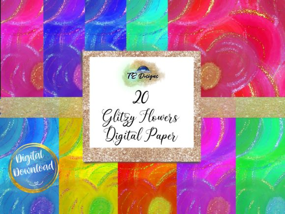 Print on Demand: Glitzy Flowers Digital Paper Graphic Backgrounds By TE Designs