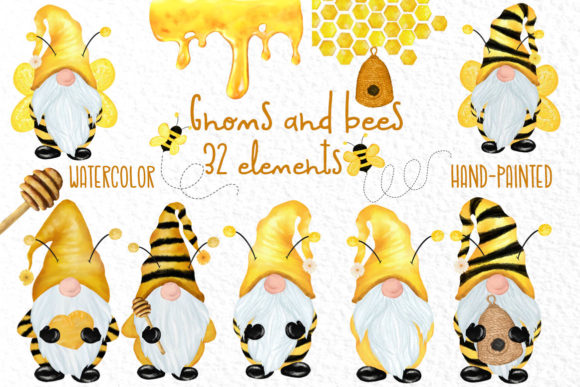 Gnomes and Bees,Bumble Bee Gnomes Graphic Illustrations By vivastarkids