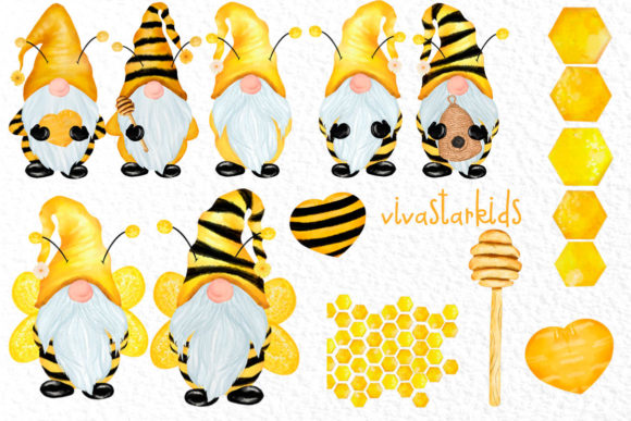 Gnomes and Bees,Bumble Bee Gnomes Graphic Illustrations By vivastarkids - Image 2
