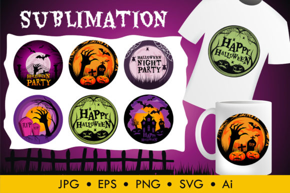 Print on Demand: Halloween Sublimation Vector Graphic Illustrations By edywiyonopp