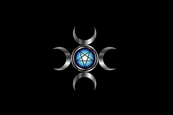 Inverted Pentagram with Triple Goddess Graphic Illustrations By shawlin