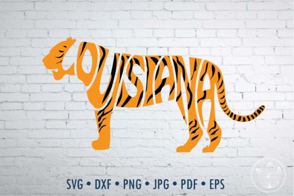 Print on Demand: Louisiana in Tiger Shape Word Art, Svg Graphic Crafts By PrettyDD