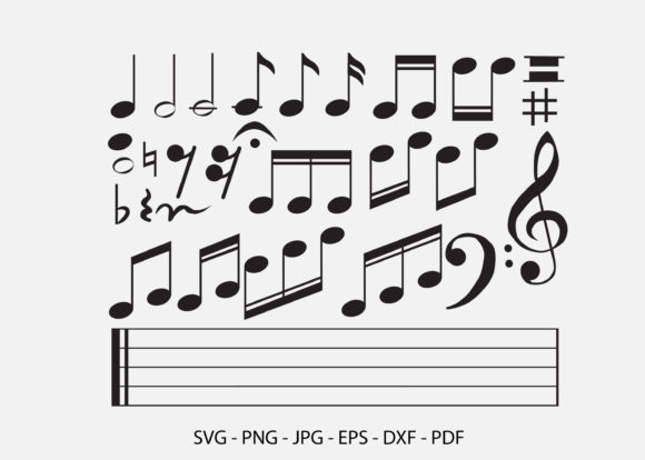 Music Note Sheet Music Graphic Graphic Crafts By RedCreations