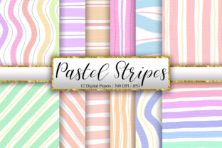 Print on Demand: Pastel Stripes Digital Papers Graphic Backgrounds By PinkPearly