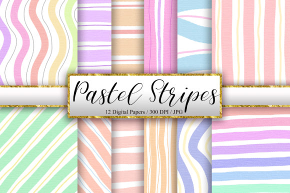 Pastel Stripes Digital Papers Graphic Backgrounds By PinkPearly