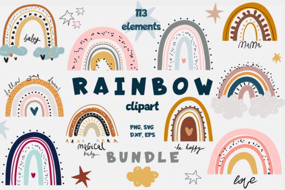 Print on Demand: Rainbow Bundle | Clipart Graphic Illustrations By Zolotovaillustrator