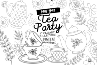 Print on Demand: Tea Party Outlines Graphic Illustrations By DigitalPapers