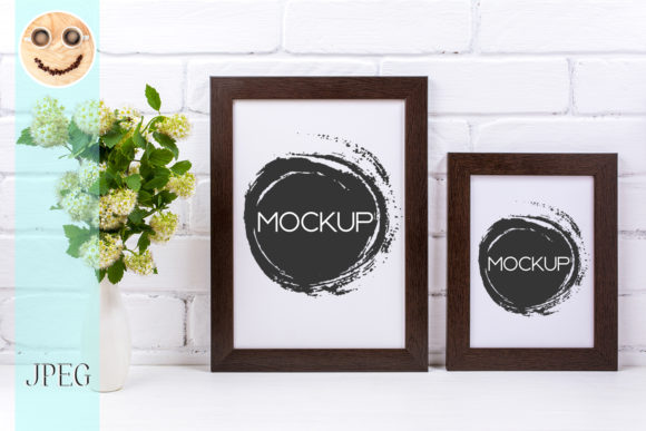 Print on Demand: Two Black Brown Poster Frames Mockup Graphic Product Mockups By TasiPas
