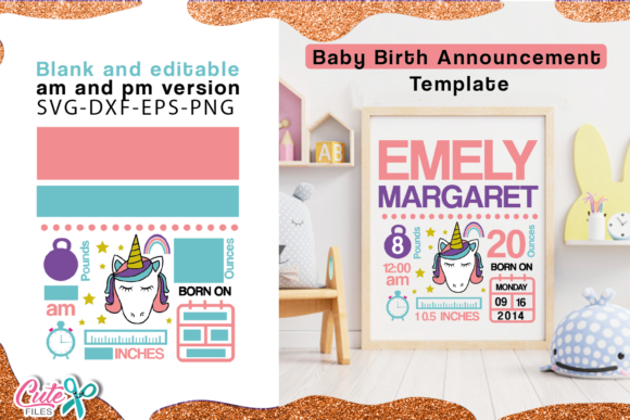 Unicorn  Birth Announcement Template Svg Graphic Illustrations By Cute files