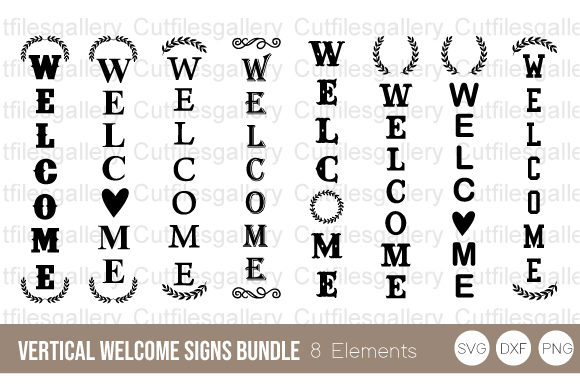 Vertical Welcome Signs Bundle SVG Graphic Crafts By cutfilesgallery