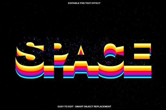 Colourful Rainbow Space Text Effect Graphic Layer Styles By knou