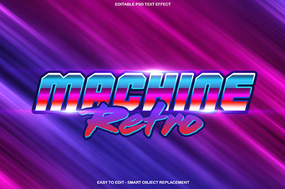 Retro Machine Text Effect Graphic Layer Styles By knou