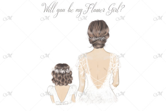 Bride & FlowerGirl Illustration Graphic Illustrations By MaddyZ
