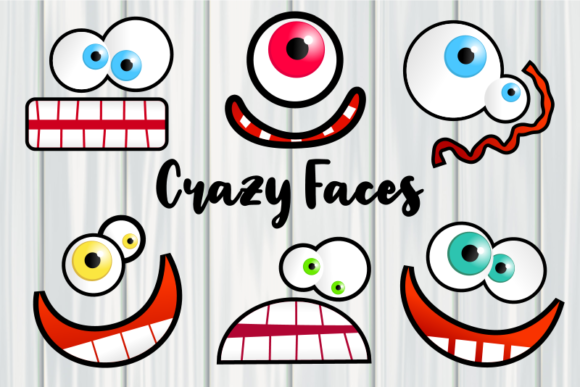 Print on Demand: Crazy Faces Funny Cartoon Expressions Graphic Illustrations By Prawny