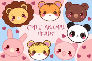 Print on Demand: Cute Animal Heads Clipart Graphic Illustrations By JM_Graphics