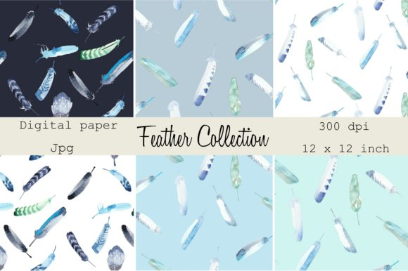 Print on Demand: Digital Papers Loose Watercolor Feathers Graphic Backgrounds By Anines Atelier