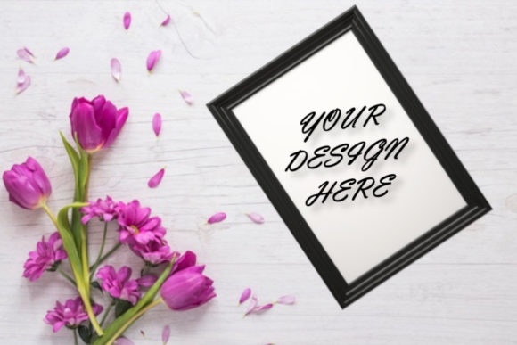 Frame Mockup, Flowers, White Background, Graphic Product Mockups By ArtStudio