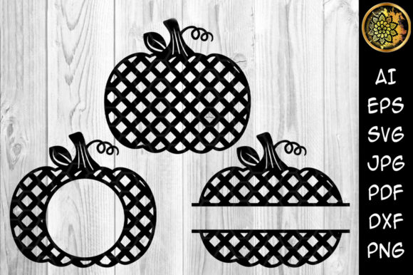 Grid Pattern Pumpkins Monogram Graphic Crafts By V-Design Creator