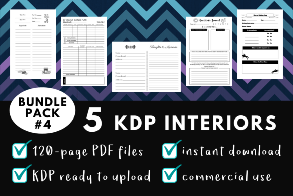 Print on Demand: KDP Interior Pack #4 - 5 Templates! Graphic KDP Interiors By mothmos