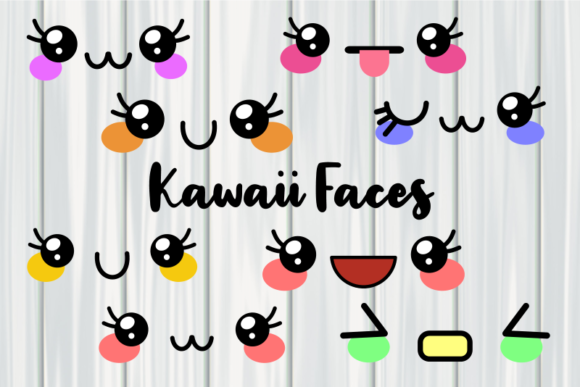 Print on Demand: Kawaii Happy Emoji Comic Faces Graphic Illustrations By Prawny