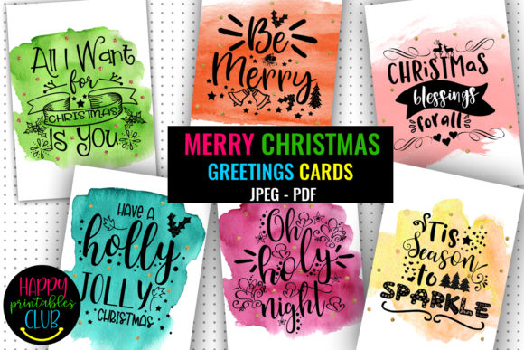 Print on Demand: Merry Christmas Greeting Cards Printable Graphic Illustrations By Happy Printables Club