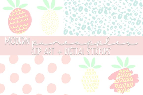 Modern Pineapple Doodle Clip Art Graphic Illustrations By Fairways and Chalkboards
