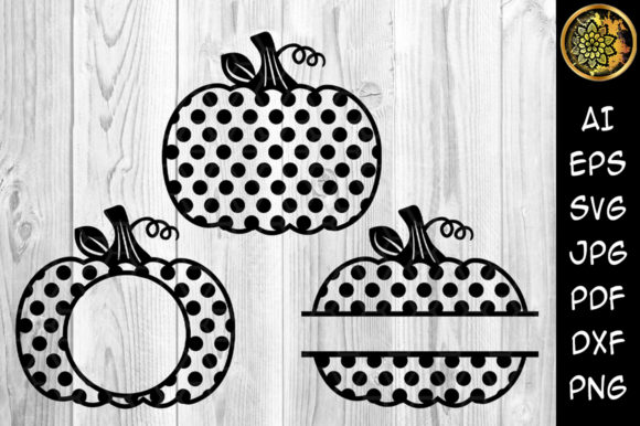 Polka Dot Pumpkin Monogram Graphic Crafts By V-Design Creator