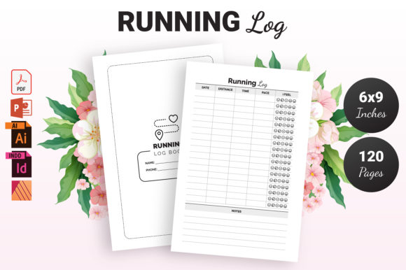Print on Demand: Running Log Book - KDP Interior Graphic KDP Interiors By KDP Ninja