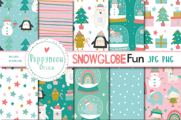 Print on Demand: Snowglobe Fun Paper Graphic Patterns By poppymoondesign