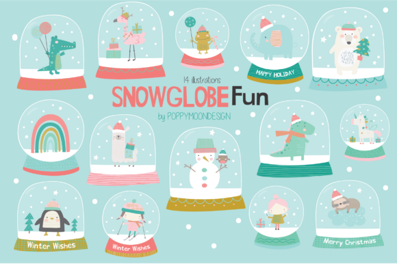 Print on Demand: Snowglobes Fun Clipart Graphic Illustrations By poppymoondesign
