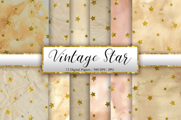 Vintage Star Glitter Digital Papers Graphic Backgrounds By PinkPearly