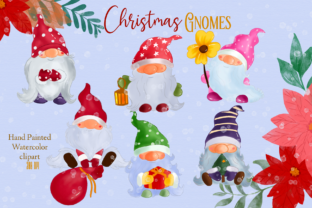 Print on Demand: Watercolor Christmas Gnomes Winter Graphic Patterns By Suda Digital Art
