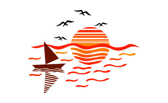 Holiday Sea with Boat and Sunset Icon Graphic