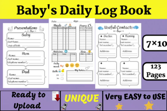 Baby's Daily Log Book | KDP Interior Graphic KDP Interiors By Wiss_Tips designs