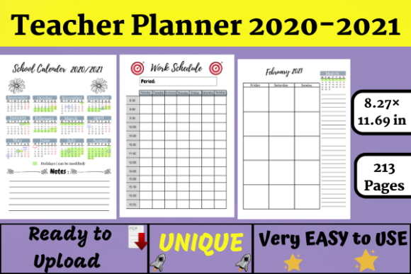 Teacher Lesson Planner 2020-2021 (KDP) Graphic KDP Interiors By Wiss_Tips designs