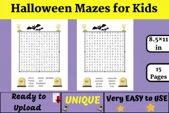 Halloween Mazes for Kids (KDP) Graphic KDP Interiors By Wiss_Tips designs