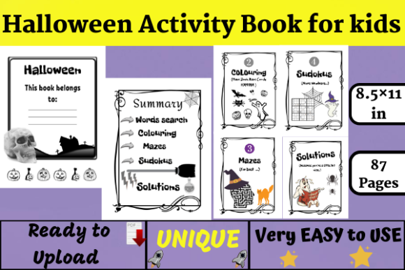 Halloween Activity Book( KDP Interiors ) Graphic KDP Interiors By Wiss_Tips designs - Image 1
