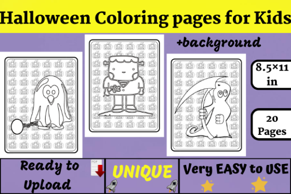 20 Halloween Coloring Pages Kids (KDP) Graphic KDP Interiors By Wiss_Tips designs