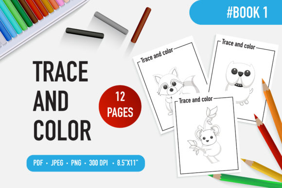 12 Cute Animal Trace and Color Book Graphic Coloring Pages & Books Kids By bongkarngraphic