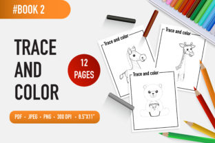 12 Adorable Animals Trace and Color Book Graphic Coloring Pages & Books Kids By bongkarngraphic 1