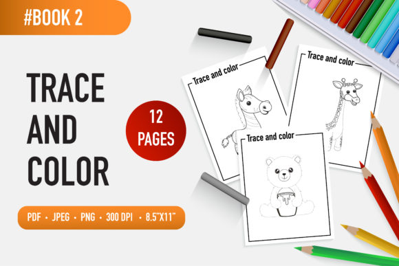 12 Adorable Animals Trace and Color Book Graphic Coloring Pages & Books Kids By bongkarngraphic