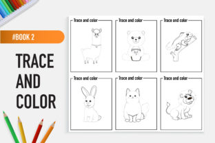 12 Adorable Animals Trace and Color Book Graphic Coloring Pages & Books Kids By bongkarngraphic 2