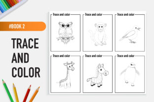 12 Adorable Animals Trace and Color Book Graphic Coloring Pages & Books Kids By bongkarngraphic 3