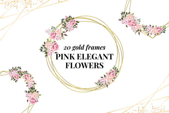 20 Decorative Frames, Watercolor Floral Graphic Illustrations By Aneta Design