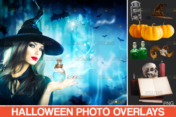 20 Halloween Clipart Photoshop Overlay Graphic Actions & Presets By 2SUNS