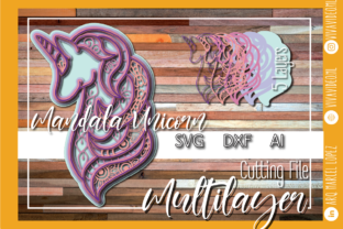Print on Demand: 3d Multilayer Unicorn Mandala Graphic 3D SVG By Marcel de Cisneros