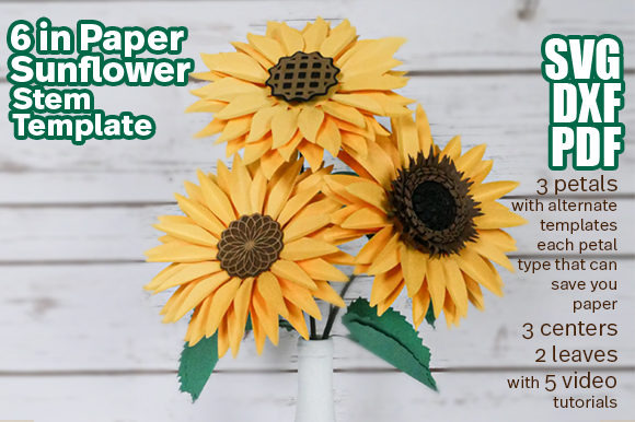 6 Inch Paper Sunflower Stem Template Graphic 3D Flowers By Deaney Weaney Blooms