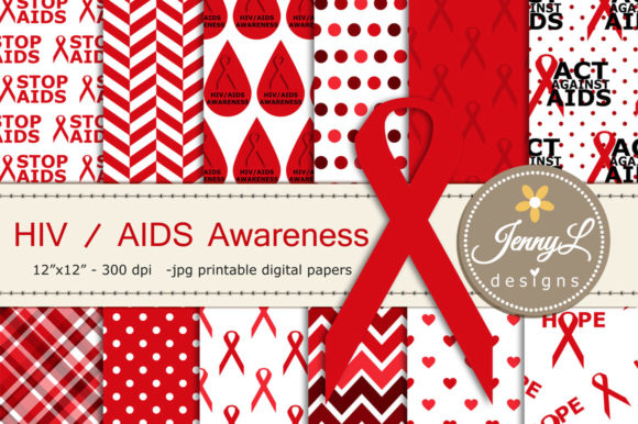 AIDS HIV Awareness Digital Papers Graphic Backgrounds By jennyL_designs
