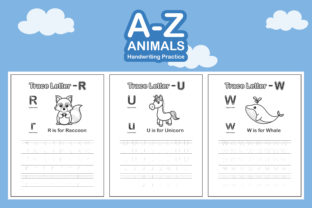 A-Z Animals Handwriting Practice Book Graphic Coloring Pages & Books Kids By bongkarngraphic