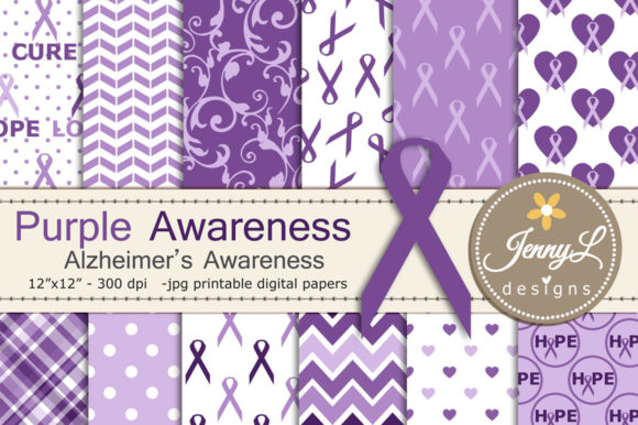 Alzheimer's Awareness Digital Papers Graphic Backgrounds By jennyL_designs